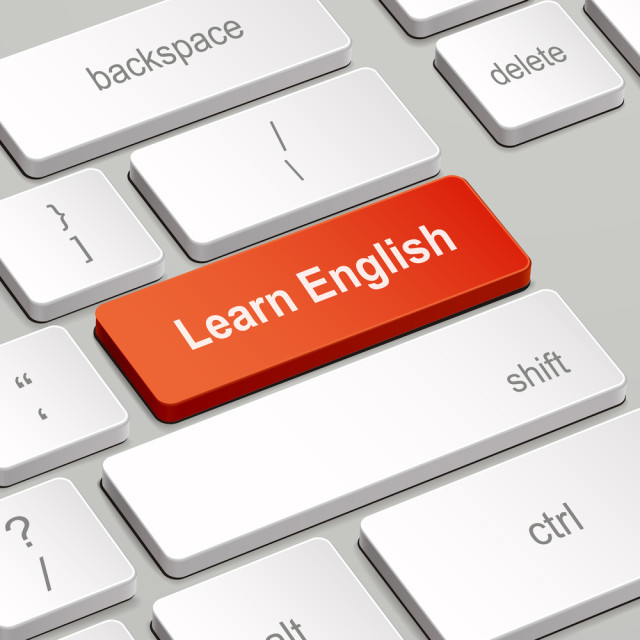 message on keyboard enter key, for learning English concepts