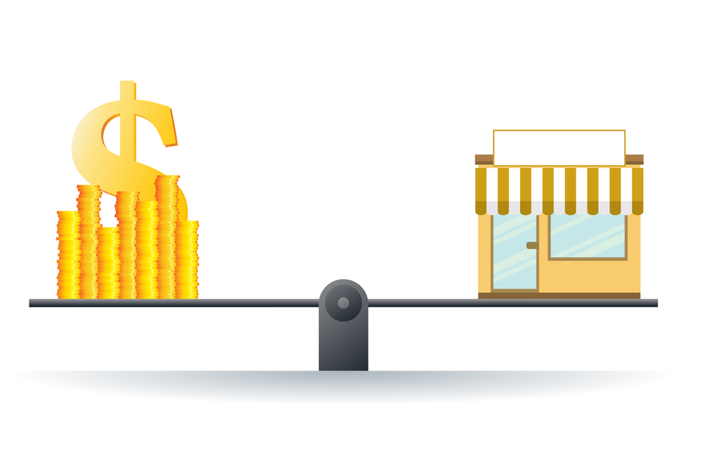 Vector illustration of a shop on a scale with heaps of gold dollar coins.